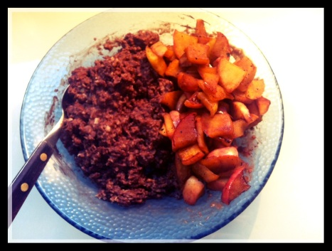 Cocoa apple porridge