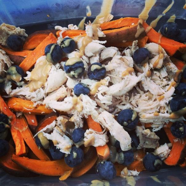 Chicken Blueberries Tahini Sweet Potato