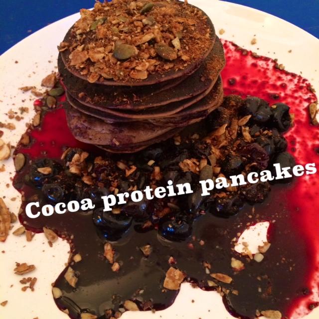 Paleo cocoa protein pancakes